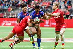 March 9, 2019 - Vancouver, BC, U.S. - VANCOUVER, BC - MARCH 10: Samoa player tackled by Harry Jones #11 of Canada and anotehr Canada player during Game #6- Samoa 7s vs Canada 7s in Pool B match-up at the Canada Sevens held March 9-10, 2019 at BC Place Stadium in Vancouver, BC, Canada.(Photo by Allan Hamilton/Icon Sportswire) (Credit Image: © Allan Hamilton/Icon SMI via ZUMA Press)