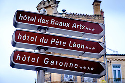 Direction sign showing hotels in Toulouse, France<br /> <br /> (c) Andrew Wilson | Edinburgh Elite media