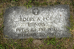 31 August 2017:   Veterans graves in Park Hill Cemetery in eastern McLean County.<br /> <br /> Louis A Poe Illinois Private 5 ILL INF N G February 20 1930