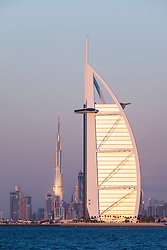 Skyline of Dubai with Burj al Arab Hotel and Burj Khalifa tower in distance in United Arab Emirates