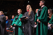 Spring undergraduate commencement speaker Allie LaForce (Center). Photo by Ben Siegel