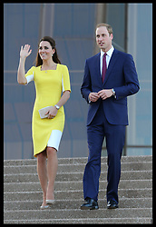 The Duke and Duchess of Cambridge walk down the steps of the Sydney Opera House after attending a reception following their arrival in Australia, Wednesday, 16th April 2014. Picture by Stephen Lock / i-Images
