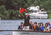 Henley on Thames,  United Kingdom, 1988 Henley Royal Regatta, Henley Reach, Thames Valley, British Summertime.<br /> [Mandatory Credit, Peter SPURRIER/Intersport Images, Henley Umpires Launch, Bosporos, <br /> <br /> Scans from Positives, April 2019