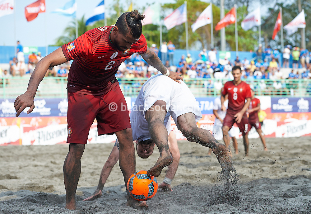 Portugal defender Coimbra looks to retain possession at the Copa Pilsener 2016.