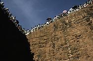 Ethiopia. Lalibela. Timkat orthodox epiphany,  procession of the tabots (covenant ark) in the Church Bieta Ghiorgis (Saint Georges house) / procession des tabots (arche díalliance), Timkat fete orthodoxe de líepiphanie,   Lalibela  Ethiopie procession de l'arche d'alliance (tables de la loi)