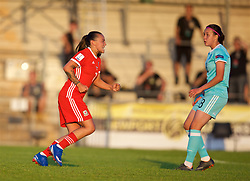 NEWPORT, WALES - Tuesday, June 12, 2018: Wales' Natasha Harding celebrates scoring the third goal during the FIFA Women's World Cup 2019 Qualifying Round Group 1 match between Wales and Russia at Newport Stadium. (Pic by David Rawcliffe/Propaganda)