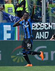 May 6, 2018 - Rome, Lazio, Italy - Musa Barrow celebrates after scoring goal 0-1 during the Italian Serie A football match between S.S. Lazio and Atalanta at the Olympic Stadium in Rome, on may 06, 2018. (Credit Image: © Silvia Lore/NurPhoto via ZUMA Press)