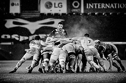 Ospreys' Rhys Webb at the back of a scrum<br /> <br /> Photographer Simon King/Replay Images<br /> <br /> European Rugby Champions Cup Round 5 - Ospreys v Saracens - Saturday 13th January 2018 - Liberty Stadium - Swansea<br /> <br /> World Copyright © Replay Images . All rights reserved. info@replayimages.co.uk - http://replayimages.co.uk