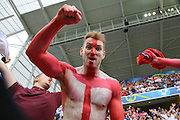 England fans celebrate at the end of the game during the Euro 2016 Group B match between England and Wales at Stade de Bollaert-Delelis, Lens Agglo, France on 16 June 2016. Photo by Phil Duncan.