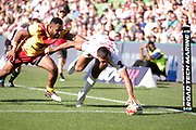 Ryan Hall of England scores a try in front of Justin Olam of Papua New Guinea  during the Rugby League World Cup Quarter-Final match between England and  Papua New Guinea at Melbourne Rectangular Stadium, Melbourne, Australia on 19 November 2017. Photo by Mark  Witte.