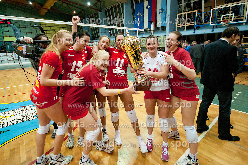 Players of Nova KBM Branik Maribor with trophy during volleyball match between Nova KBM Branik Maribor and Calcit Kamnik in final game of Slovenia Volleyball Cup, on Januar 4, 2012 at Sportna Dvorana, Kamnik, Slovenia. Nova KBM Branik Maribor won 3:2. (Photo By Matic Klansek Velej / Sportida)