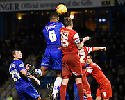 Leon Legge scores his second goal during the Sky Bet League 1 match between Gillingham and Leyton Orient at the MEMS Priestfield Stadium, Gillingham, England on 15 November 2014.