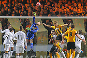 Manchester United's Goalkeeper David De Gea punches the ball away during the The FA Cup match between Cambridge United and Manchester United at the R Costings Abbey Stadium, Cambridge, England on 23 January 2015. Photo by Phil Duncan.
