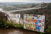 The view of the Clifton Suspension Bridge and river Severn gorge, historically a commmon location for suicides and where the mental health charity Samaritans raise awareness for vulernable people over the Christmas and New year holiday, on 26th December 2019, in Bristol, England. The bridge (opened 1864) is built to a design by William Henry Barlow and John Hawkshaw, based on an earlier design by Isambard Kingdom Brunel. Approximately four suicides per year are reported after new barriers were added in 1998.