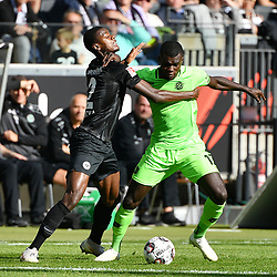 FRANKFURT, Oct. 1, 2018  Evan Ndicka (L) of Frankfurt vies with Ihlas Bebou of Hannover 96 during the Bundesliga match at Commerzbank-Arena, in Frankfurt am Main, Germany, on Sept. 30, 2018. (Credit Image: © Ulrich Hufnagel/Xinhua via ZUMA Wire)