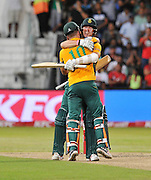 Kyle Abbott and David Miller of South Africa celebrate during the 2016 T20 International Series match between South Africa and Australia in Kingsmead Stadium Durban, Kwa-Zulu Natal on 04 March 2016©Muzi Ntombela/Backpagepix