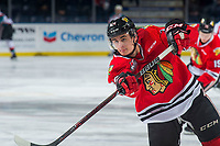 KELOWNA, BC - MARCH 02:  Seth Jarvis #24 of the Portland Winterhawks warms up on the ice against the Kelowna Rockets  at Prospera Place on March 2, 2019 in Kelowna, Canada. (Photo by Marissa Baecker/Getty Images)