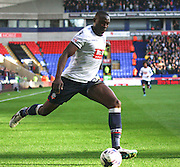 Shola Ameobi crosses during the Sky Bet Championship match between Bolton Wanderers and Leeds United at the Macron Stadium, Bolton, England on 24 October 2015. Photo by Pete Burns.