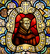 Blessed Junipero Serra is depicted in a stained glass window in the priests  residence at San Buenaventura Mission in Ventura, Calif.<br /> &copy; 2015 Nancy Wiechec