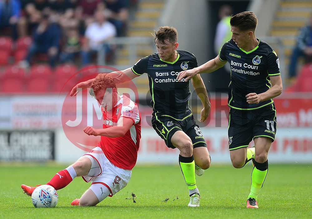 Tom Nichols of Bristol Rovers Ollie Clarke of Bristol Rovers in action with Matt Palmer of Rotherham United - Mandatory by-line: Alex James/JMP - 21/04/2018 - FOOTBALL - Aesseal New York Stadium - Rotherham, England - Rotherham United v Bristol Rovers - Sky Bet League One