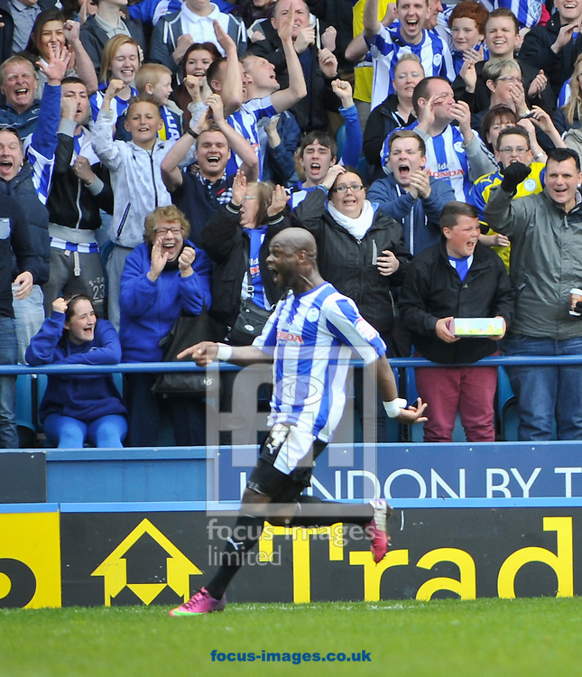 Picture by Richard Land/Focus Images Ltd +44 7713 507003.04/05/2013.Leroy Lita of Sheffield Wednesdaycelebrates making it 2-0 during the npower Championship match at Hillsborough, Sheffield.