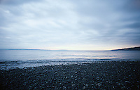 Beach on an overcast day at sunset. Puget Sound Washington USA&#xA;<br />