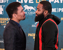 November 20, 2018 - Los Angeles, California,  U.S. - MANNY PACQUIAO and ADRIEN BRONER attend a press conference Tuesday for their upcoming WBA Welterweight title fight at MGM Grand Garden Arena. (Credit Image: © Gene Blevins/ZUMA Wire)