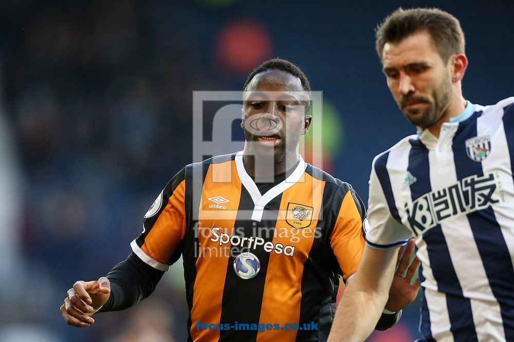 Adama Diomande of Hull City (left) competing with Gareth McAuley of West Bromwich Albion (right) during the Premier League match at The Hawthorns, West Bromwich<br /> Picture by Andy Kearns/Focus Images Ltd 0781 864 4264<br /> 02/01/2017