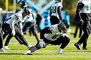 Philadelphia Eagles warm up on the field during the press, training and media day for Philadephia Eagles at London Irish Training Ground, Hazelwood Centre, United Kingdom on 26 October 2018. Picture by Jason Brown.