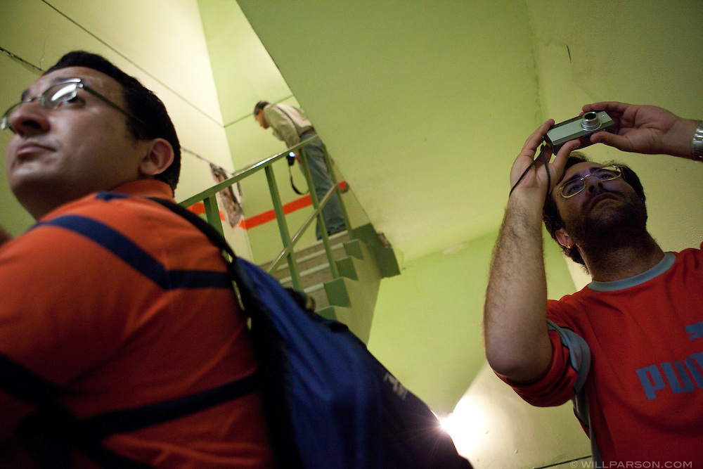 Dr. Hussein Okail and Gabriele Guerrini inspect a stairwell inside a hospital. Researchers led by Dr. Benson Shing, Vice Chair of the Department of Structural Engineering at the University of California, San Diego, inspected the earthquake damage in Mexicali, Mexico, April 7, 2010. A 7.2 magnitude earthquake in Baja California on Easter Sunday was felt as far away as Los Angeles.