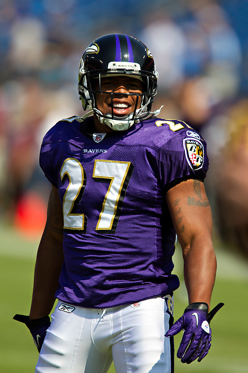 NASHVILLE, TN - SEPTEMBER 18:   Ray Rice #27 of the Baltimore Ravens warms up before a game against the Tennessee Titans at the LP Field on September 18, 2011 in Nashville, Tennessee.  (Photo by Wesley Hitt/Getty Images) *** Local Caption *** Ray Rice