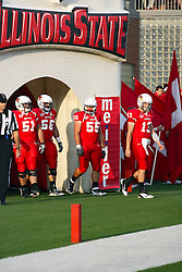 10 September 2011: Redbird Captains Cal McCarthy, Cody White, Eric Brunner and Ben Ericsen during an NCAA football game between the Morehead State Eagles and the Illinois State Redbirds at Hancock Stadium in Normal Illinois.