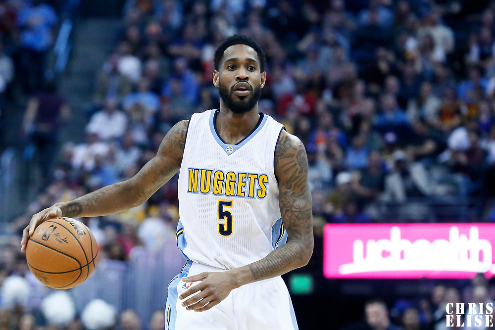 22 March 2017: Denver Nuggets guard Will Barton (5) brings the ball up court during the Denver Nuggets 126-113 victory over the Cleveland Cavaliers, at the Pepsi Center, Denver, Colorado, USA.