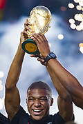 PSG Kylian Mbappe holds the world cup trophy prior to the French championship L1 football match between Paris Saint-Germain (PSG) and Caen on August 12th, 2018 at Parc des Princes, Paris, France - Photo Geoffroy Van der Hasselt / ProSportsImages / DPPI
