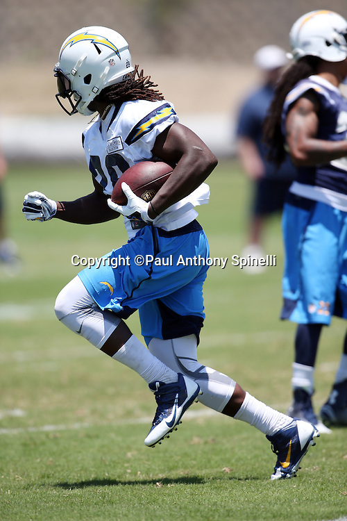 San Diego Chargers rookie running back Melvin Gordon (28) runs the ball during the San Diego Chargers Spring 2015 NFL minicamp practice held on Tuesday, June 16, 2015 in San Diego. (©Paul Anthony Spinelli)