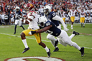 USC Trojans defensive back and running back Adoree' Jackson (2) gets tackled by diving Penn State Nittany Lions linebacker Jason Cabinda (40) as Jackson runs to the 3 yard line in the second quarter during the 2017 NCAA Rose Bowl college football game against the Penn State Nittany Lions, Monday, Jan. 2, 2017 in Pasadena, Calif. The Trojans won the game 52-49. (©Paul Anthony Spinelli)