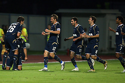Dinamo (at left Dino Drpic on Ivica Urdoljak after 1st goal) at 1st football game of 2nd Qualifying Round for UEFA Champions league between NK Domzale vs HNK Dinamo Zagreb, on July 30, 2008, in Domzale, Slovenia. Dinamo won 3:0. (Photo by Vid Ponikvar / Sportal Images)