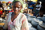 Rukaya Bawa sells pots at the market thanks to support from CAMFED in Tamale, Northern Region, Ghana on Thursday November 3, 2011.