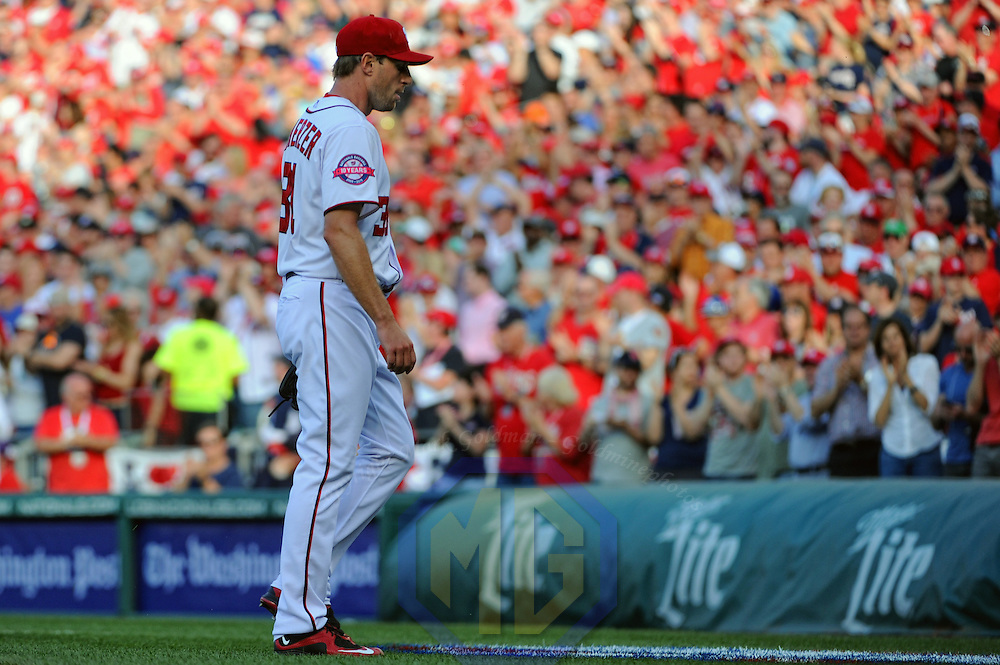 Washington Nationals starting pitcher Max Scherzer (31) is taken out of the game against the New York Mets in the 8th inning on opening day at Nationals Park in Washington, D.C. on April 6, 2015 where the New York Mets defeated the Washington Nationals, 3-1.   Photo by Mark Goldman/UPI