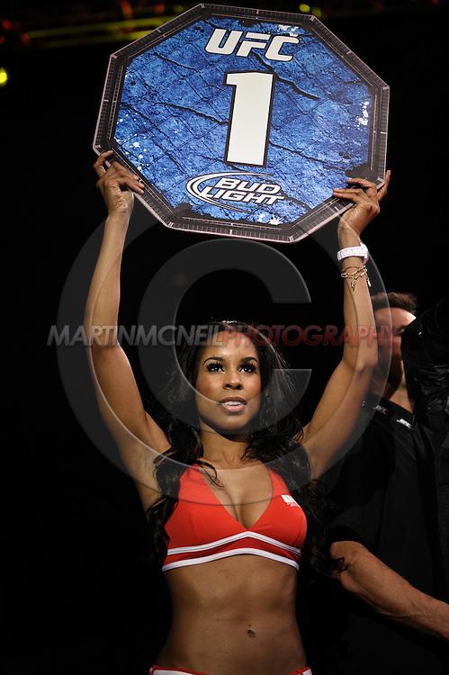 "BIRMINGHAM, ENGLAND, NOVEMBER 5, 2012: Chandella Powell walks on the cage apron during ""UFC 138: Munoz vs. Leben"" inside the National Indoor Arena in Birmingham, United Kingdom"