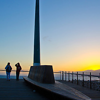 "The public art installation entitled, ""The Beacon,"" by artist Jody Pinto amid the sunset  n Wednesday, June 5, 2013. The Beacon is located at the California Incline and was dedicated on Veterans' Day 1999."