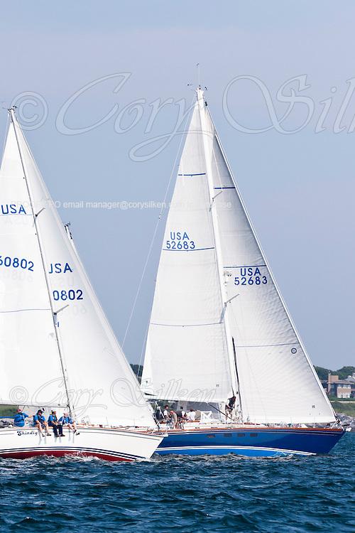 Shidig and Atalanta sailing at the start of the Newport Bermuda Race 2010. The race began in Newport, Rhode Island on June 18, 2010.
