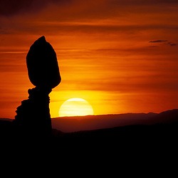 Arches National Park, UT..Balance Rock at sunset.
