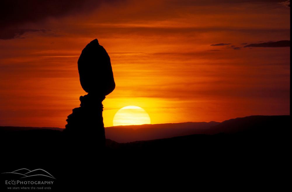 Arches National Park, UT..Balance Rock at sunset.