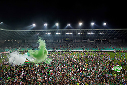 Supporters of Olimpija celebrate on the pitch after winning during football match between NK Aluminij and NK Olimpija Ljubljana in the Final of Slovenian Football Cup 2017/18, on May 30, 2018 in SRC Stozice, Ljubljana, Slovenia. Photo by Vid Ponikvar / Sportida