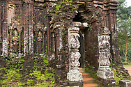 Carved pilasters on the 10th century Cham tower (B5)   at the My Son Sanctuary, Quang Nam Province, Vietnam, Southeast Asia