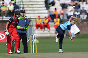 Yorkshire Diamonds Leigh Kasperek during the Vitality T20 Blast North Group match between Lancashire Thunder and Yorkshire Vikings at Liverpool Cricket Club, Liverpool, United Kingdom on 13 August 2019.