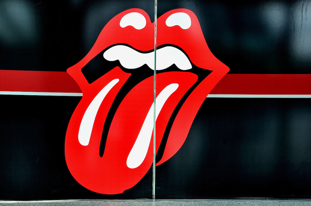 Rolling Stones Tongue Logo at Rock and Roll Hall of Fame in Cleveland, Ohio<br />