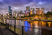 City of Melbourne Skyline Along the Yarra River at Dusk