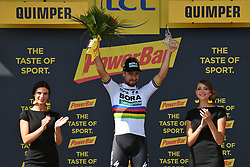 July 11, 2018 - Quimper, FRANCE - Slovak Peter Sagan of Bora-Hansgrohe celebrates on the podium after winning the fifth stage of the 105th edition of the Tour de France cycling race, from Lorient to Quimper (204,5 km), in France, Wednesday 11 July 2018. This year's Tour de France takes place from July 7th to July 29th. BELGA PHOTO DAVID STOCKMAN - FRANCE OUT (Credit Image: © David Stockman/Belga via ZUMA Press)